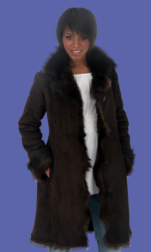Alexandra Fitted Shearling Car Coat | D'Andre NY